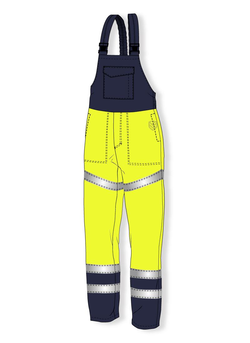 Multi-protective bib and brace trousers