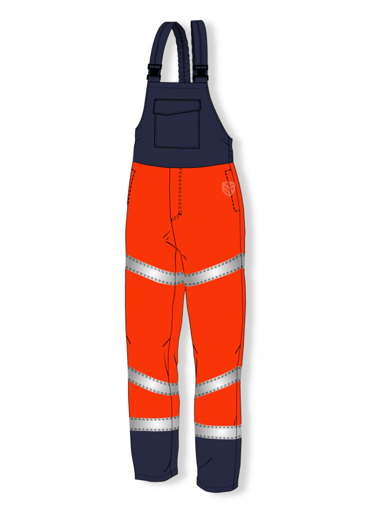 Multi-protective bib and brace trousers