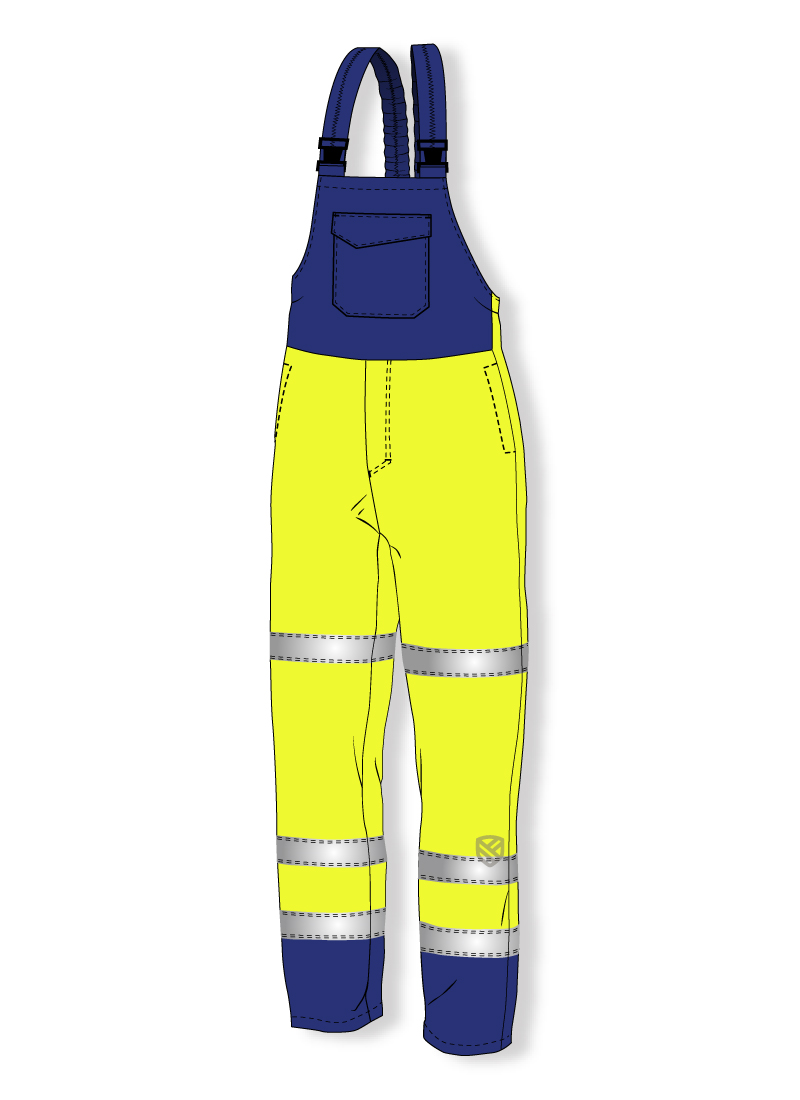 Acid resistant bib and brace trousers