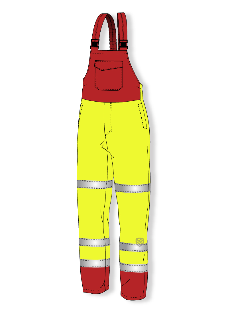 Antielectrostatic padded bib and brace trousers