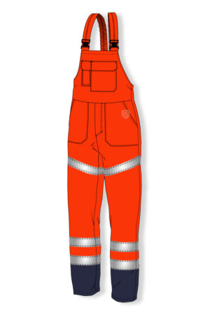 High visibility padded bib and brace trousers